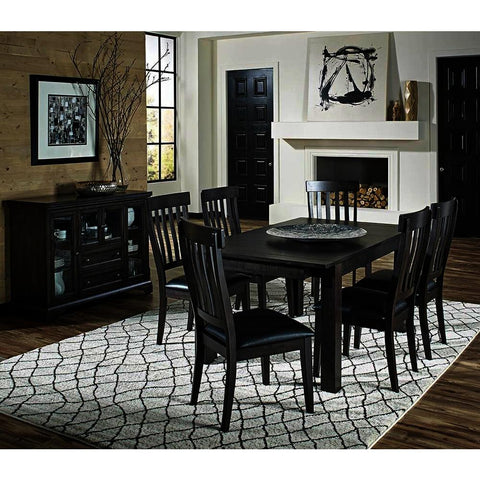 A-America Mariposa 8 Piece Leg Dining Room Set w/Slat Back Chairs in Warm Grey