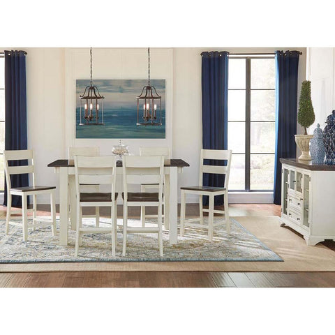 A-America Mariposa 8 Piece Leg Gathering Height Table Set in Cocoa-Chalk