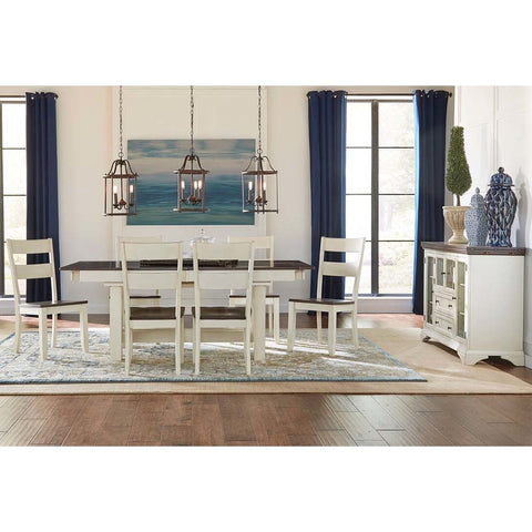 A-America Mariposa 8 Piece Trestle Dining Room Set in Cocoa-Chalk
