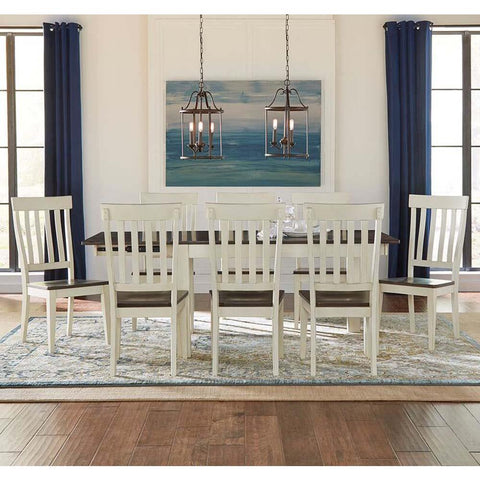 A-America Mariposa 9 Piece Leg Dining Room Set in Cocoa-Chalk