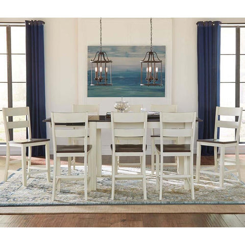 A-America Mariposa 9 Piece Leg Gathering Height Table Set in Cocoa-Chalk