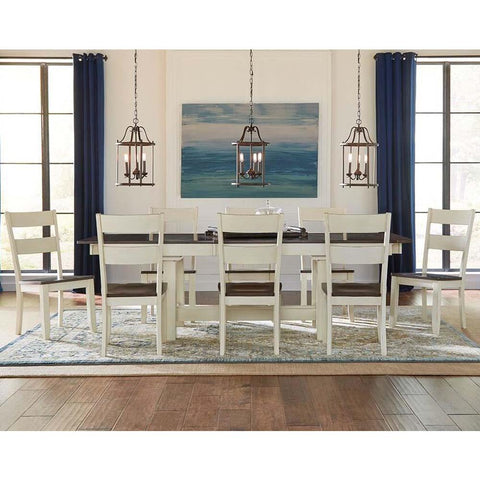 A-America Mariposa 9 Piece Trestle Dining Room Set in Cocoa-Chalk