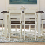 A-America Mariposa 11 Piece Leg Gathering Height Table Set w/Slatback Chairs in Cocoa-Chalk
