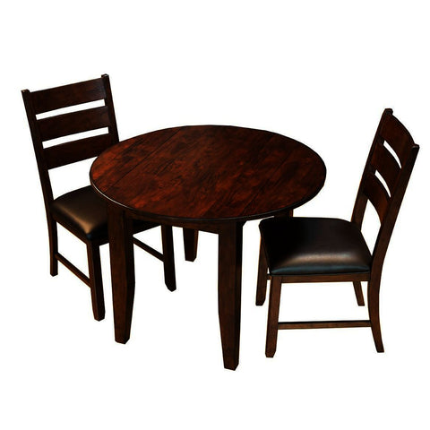 A-America Mason 3 Piece Round Drop Leaf Dining Room Set in Mango