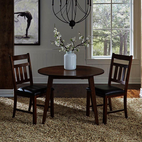 A-America Mason 3 Piece Round Drop Leaf Dining Room Set w/Slat Back Chairs in Mango