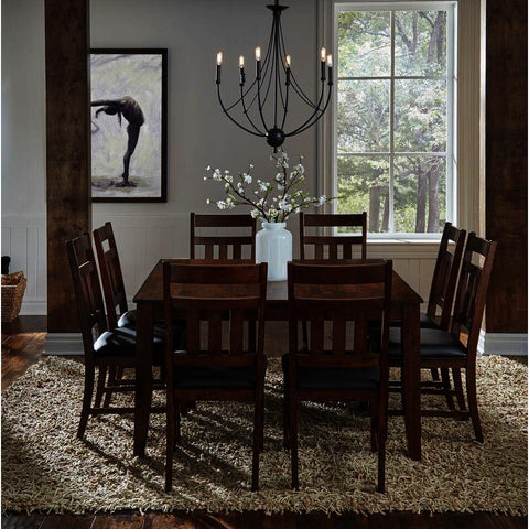 A-America Mason 9 Piece Rectangular Leg Dining Room Set w/Butterfly Leaf in Mango