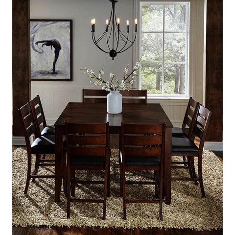 A-America Mason 9 Piece Square Gather Height Table Set w/Butterfly Leaf in Mango