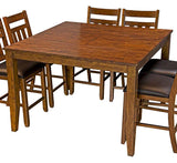 A-America Mason 9 Piece Square Gather Height Table Set w/Slat Back Stools in Mango