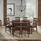 A-America Mason 7 Piece Oval Dining Room Set w/Slat Back Chairs in Mango