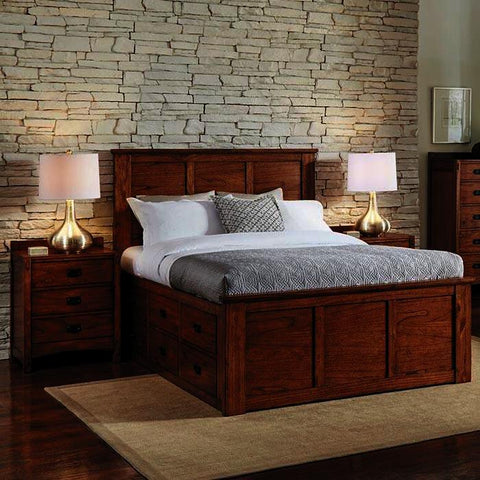 A-America Mission Hill 3 Piece Captains Bedroom Set in Harvest