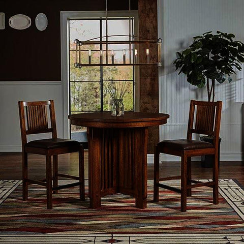 A-America Mission Hill 3 Piece Gather Height Round Pedestal Table Set in Harvest