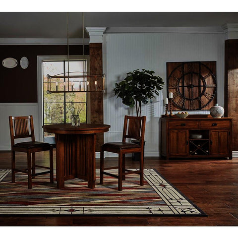 A-America Mission Hill 4 Piece Gather Height Round Pedestal Table Set in Harvest