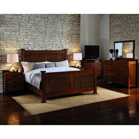 A-America Mission Hill 4 Piece Slat Bedroom Set in Harvest