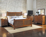 A-America Mission Hill 5 Piece Captains Bedroom Set w/Door Chest in Harvest