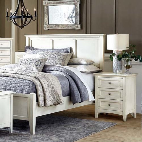 A-America Northlake 2 Piece Panel Bedroom Set in White Linen