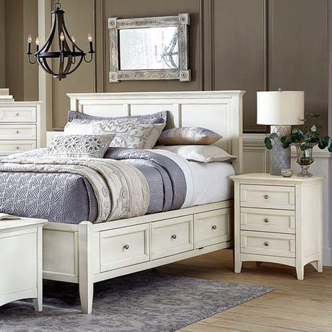 A-America Northlake 2 Piece Storage Bedroom Set in White Linen