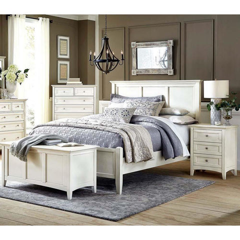 A-America Northlake 4 Piece Panel Bedroom Set in White Linen