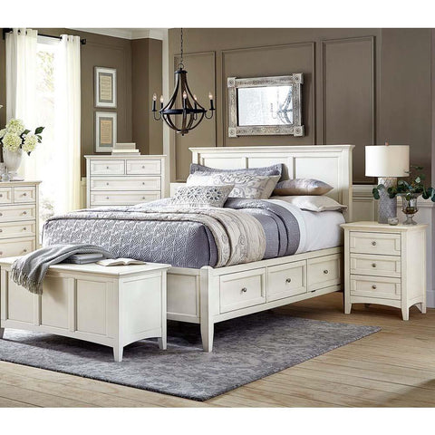A-America Northlake 4 Piece Storage Bedroom Set in White Linen