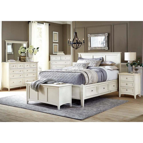 A-America Northlake 5 Piece Storage Bedroom Set in White Linen