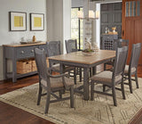 A-America Port Townsend 9 Piece Trestle Dining Room Set w/Sideboard in Gull Grey & Seaside Pine