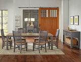 A-America Port Townsend Wood Slatback Arm Chair in Gull Grey & Seaside Pine