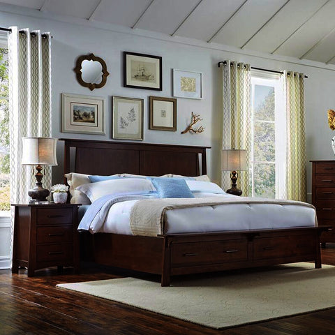 A-America Sodo 3 Piece King Storage Bedroom Set in Sumatra Brown