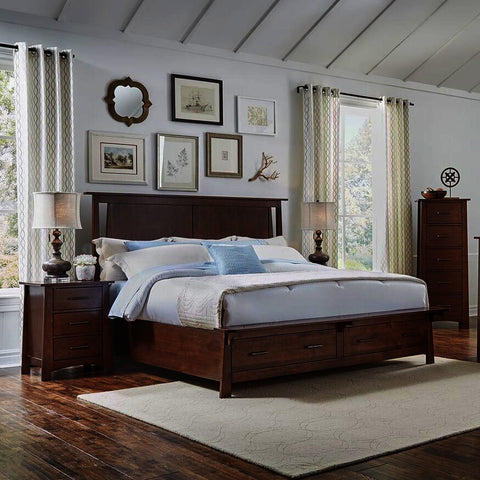 A-America Sodo 4 Piece King Storage Bedroom Set in Sumatra Brown