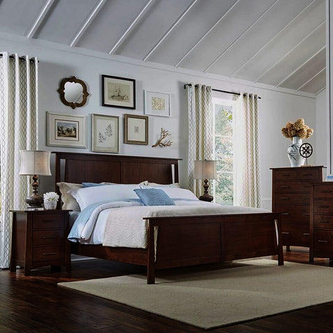 A-America Sodo 4 Piece Panel Bedroom Set w/Chest in Sumatra Brown