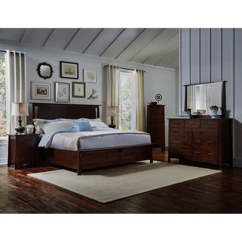 A-America Sodo 5 Piece King Storage Bedroom Set in Sumatra Brown