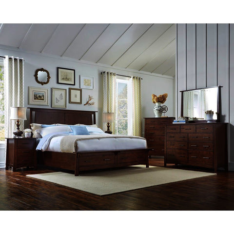 A-America Sodo 5 Piece King Storage Bedroom Set w/Chest in Sumatra Brown