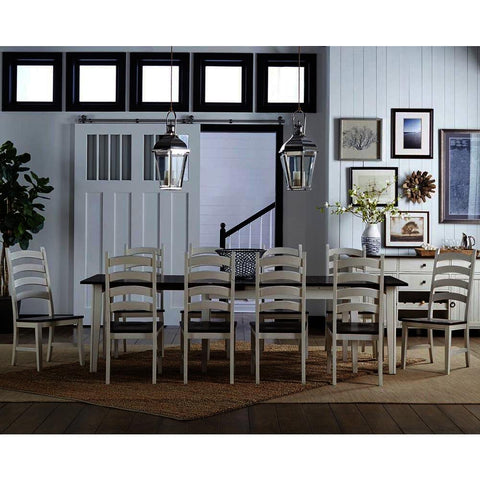 A-America Toluca 11 Piece Rectangular Leg Dining Room Set in Chalk & Cocoa Bean
