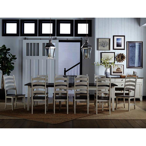 A-America Toluca 12 Piece Rectangular Leg Dining Room Set in Chalk & Cocoa Bean