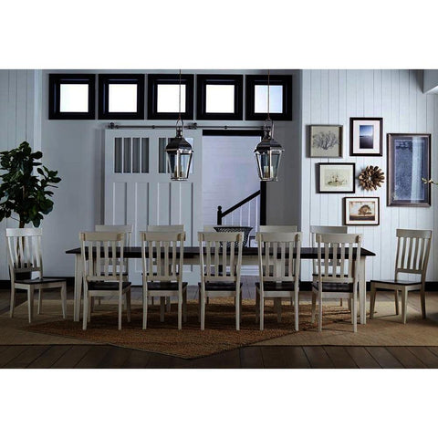 A-America Toluca 13 Piece Rectangular Leg Dining Room Set w/Slatback Chairs in Chalk & Cocoa Bean