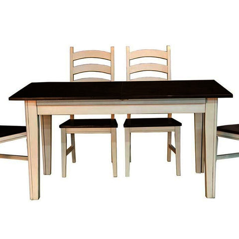 A-America Toluca 132 Inch Rectangular Leg Dining Table w/Self-Storing Leaves in Chalk & Cocoa Bean