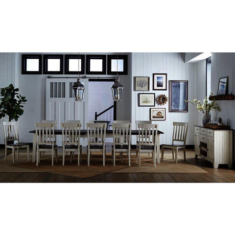 A-America Toluca 14 Piece Rectangular Leg Dining Room Set w/Slatback Chairs in Chalk & Cocoa Bean