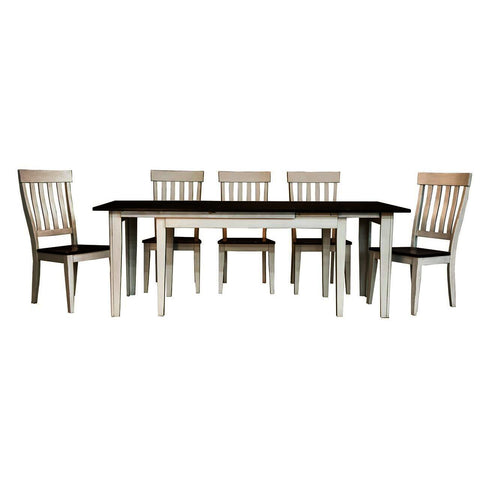 A-America Toluca 7 Piece Rectangular Leg Dining Room Set w/Slatback Chairs in Chalk & Cocoa Bean