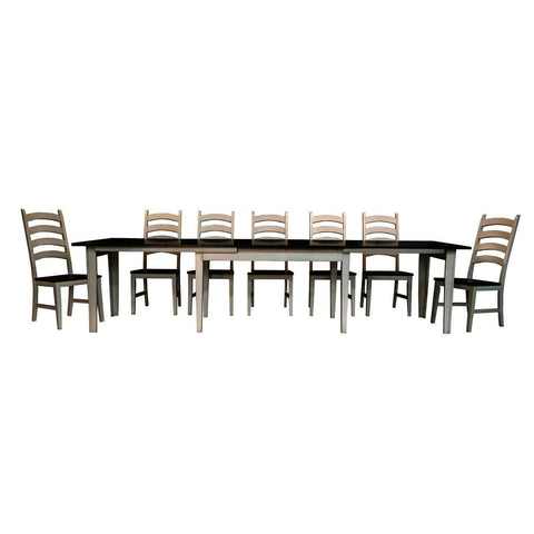 A-America Toluca 9 Piece Rectangular Leg Dining Room Set in Chalk & Cocoa Bean