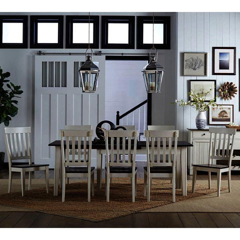 A-America Toluca 9 Piece Rectangular Leg Dining Room Set w/Slatback Chairs in Chalk & Cocoa Bean