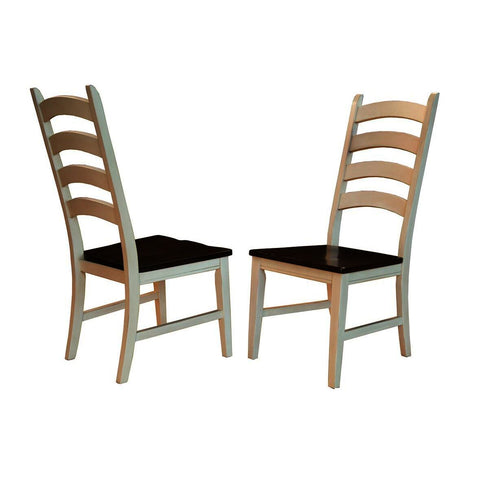 A-America Toluca Ladderback Side Chair in Chalk & Cocoa Bean