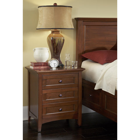A-America Westlake 3 Drawer Nightstand, Cherry Brown Finish