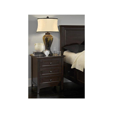 A-America Westlake 3 Drawer Nightstand, Dark Mahogany Finish
