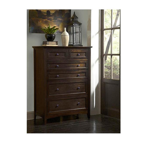A-America Westlake 6 Drawer Chest, Dark Mahogany Finish