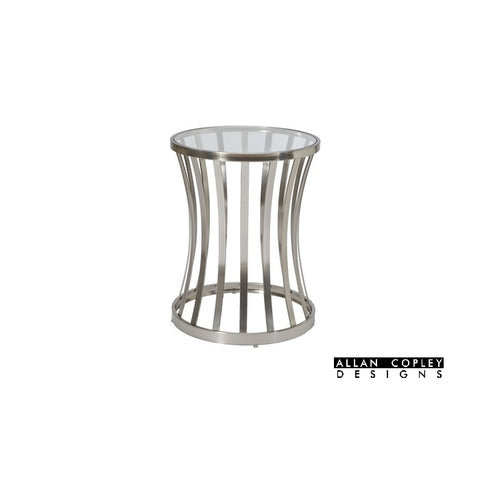 Allan Copley Alex Round End Table with Glass Top on Satin Nickel Plated Base