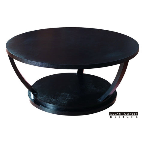 Allan Copley Concept Round Cocktail Table In Black on Oak