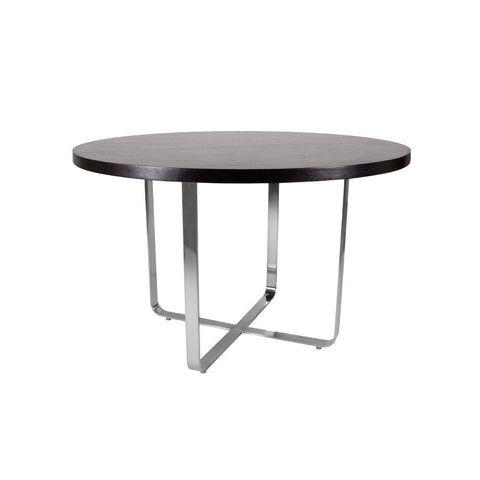 Allan Copley Designs Artesia 48 Inch Round Dining Table w/ Mocca on Oak Top on Satin Nickel Base