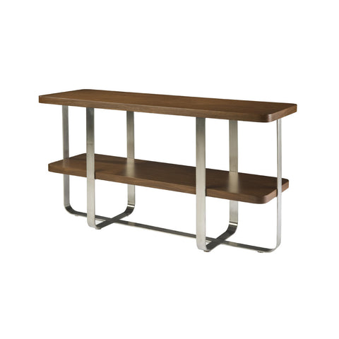 Allan Copley Designs Artesia Rectangular Console Table w/ Mocca on Oak Top on Satin Nickel Base