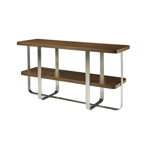 Allan Copley Designs Artesia Rectangular Console Table w/ Walnut Stain Top on Satin Nickel Base