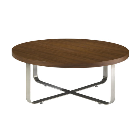 Allan Copley Designs Artesia Round Cocktail Table w/ Mocca on Oak Top on Satin Nickel Base
