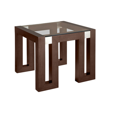 Allan Copley Designs Calligraphy Square Glass Top End Table in Espresso w/ Brushed Stainless Steel Accents