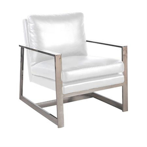 Allan Copley Designs Christopher Lounge Chair in White Leatherette w/ Polished Stainless Steel Frame